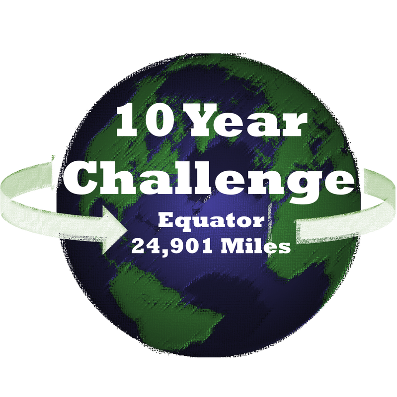 The 10 year challenge is my goal to walk/run/x-ski/swim the distance around the equator - 24,901 miles - from 2013 through 2022. See how I am doing: here